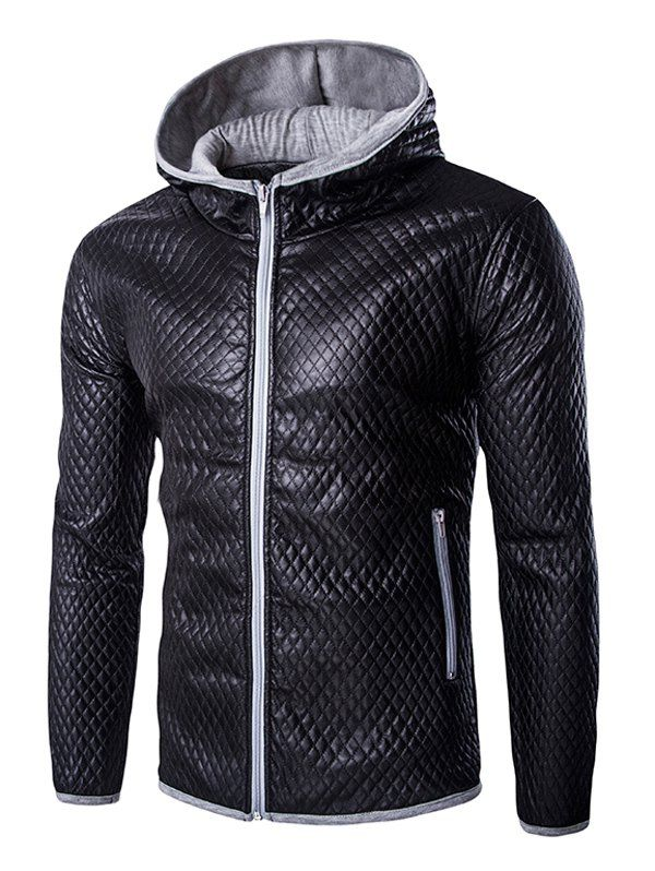 Retro Style Color Block Hooded Quilting Leather Coat For Men #women, #men, #hats, #watches, #belts, #fashion
