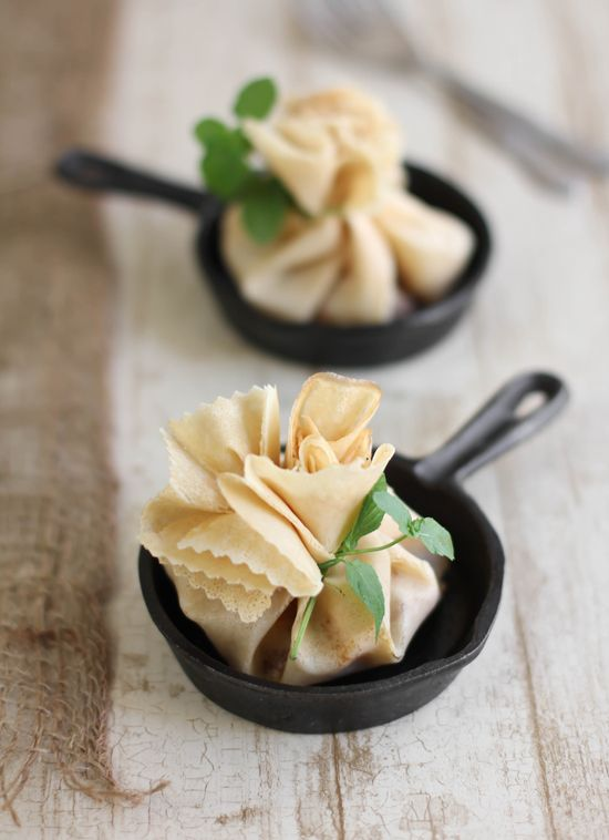 Caramel Apple-Brie Crêpe Parcels; Store Crepes, canned apple pie, caramel sauce; use mini-plates or pie pan