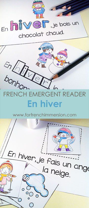 """French Winter Emergent Reader: EN HIVER. Kids will be working with the focus sight word by writing, cutting and pasting, tracing, reading, and more! Includes many size options and a """"big classroom book"""" in color and B&W. Fun and effective printable for the French Immersion classroom!"""