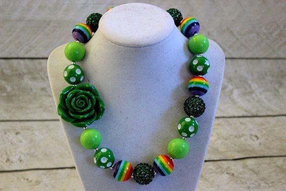 Girls St Patrick's Day necklace. Chunky bubblegum bead