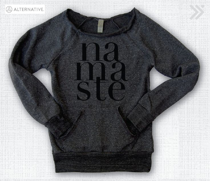 Charcoal/Black NAMASTE Off the Shoulder EcoSweatshirt by everfitte