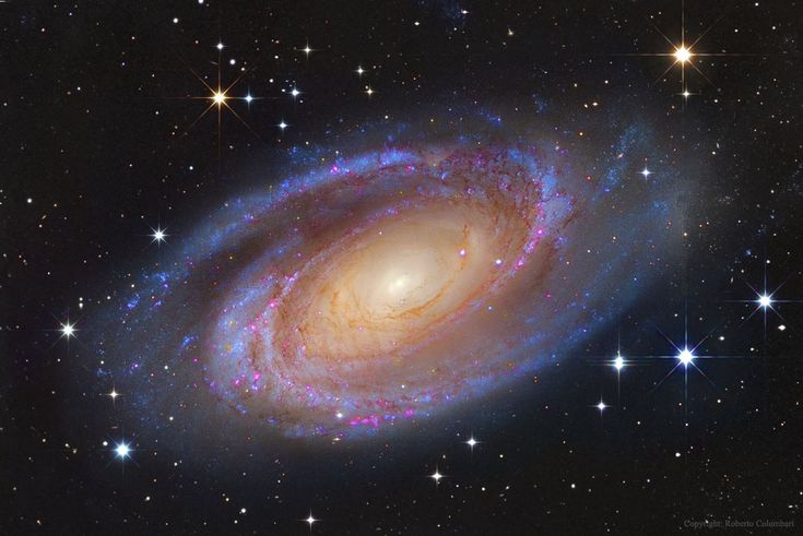 One of the brightest galaxies in planet Earth's sky is similar in size to our Milky Way Galaxy: big, beautiful M81. This grand spiral galaxy can be found toward the northern constellation of the Great Bear (Ursa Major). This superbly detailed view reveals M81's bright yellow nucleus, blue spiral arms, and sweeping cosmic dust lanes with a scale comparable to the Milky Way. Hinting at a disorderly past, a remarkable dust lane actually runs straight through the disk, to the left of the ...