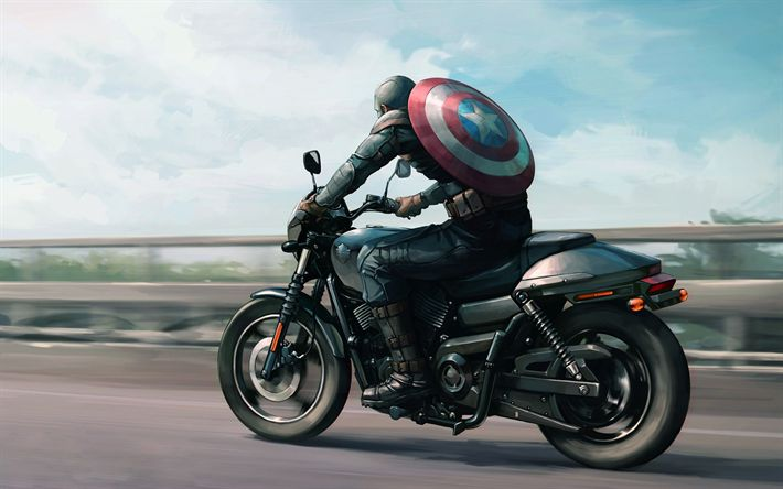 Download wallpapers Captain America, motorcycle, art, superhero