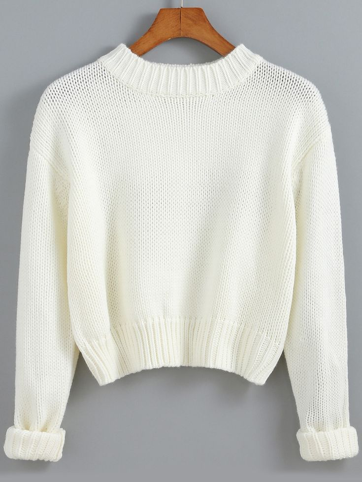 Pull court col rond -blanc  20.65
