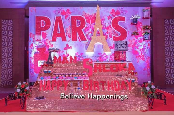 Paris theme 16 Birthbday party. Cake table.