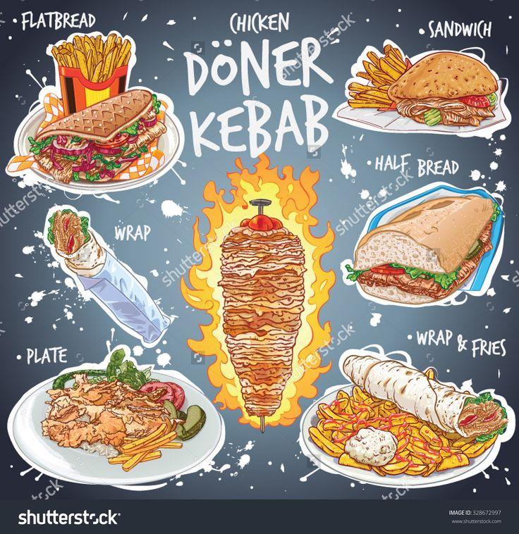 手绘矢量插图流行的鸡烤羊肉串的变化,扁平的面包,三明治,半个面包,包装,在板上米饭,青椒,莴苣叶、西红柿和薯条。-食品及饮料,其它-海洛创意(HelloRF)-Shutterstock中国独家合作伙伴-正版素材在线交易平台-站酷旗下品牌