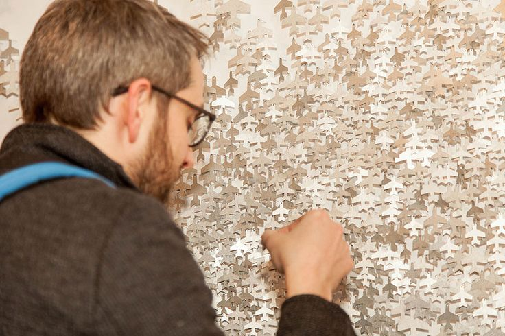 Nanna Melland. Swarm, site-specific and interactive installation, 2014. Aluminum, steelpins. Photo by: Becky Yee