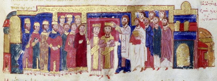 Illustration from  Skylitzes Chronicle  f222v  Marriage and Coronation of Constantine IX Monomachus and Zoe.  Bottom. The official marriage and coronation of Constantine IX Monomachus and Zoe in the basilica of Basil I.