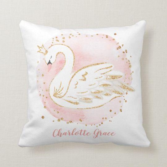 Gold swan pillow, swan crown cushion