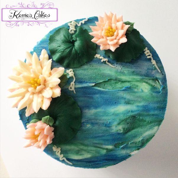 """Waterlilies"" Buttercream Artistry by Kerrie Wyer, inspired by Monet's Waterlilies."