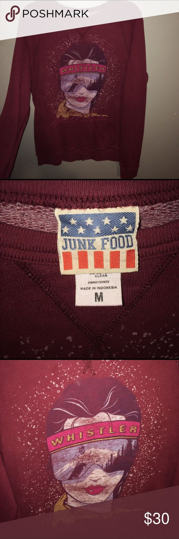 Junk Food Graphic Crewneck Junk Food graphic crewneck! Whistler British Columbia. Burgundy and oversized. Long at the bottom and perfect for any style and can be used as a crewneck dress if you are short like me! Junk Food Clothing Sweaters Crew & Scoop Necks