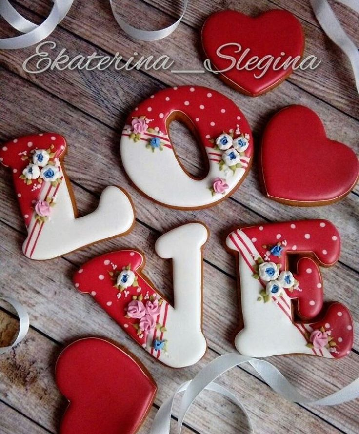 Red & White Letter Cookies