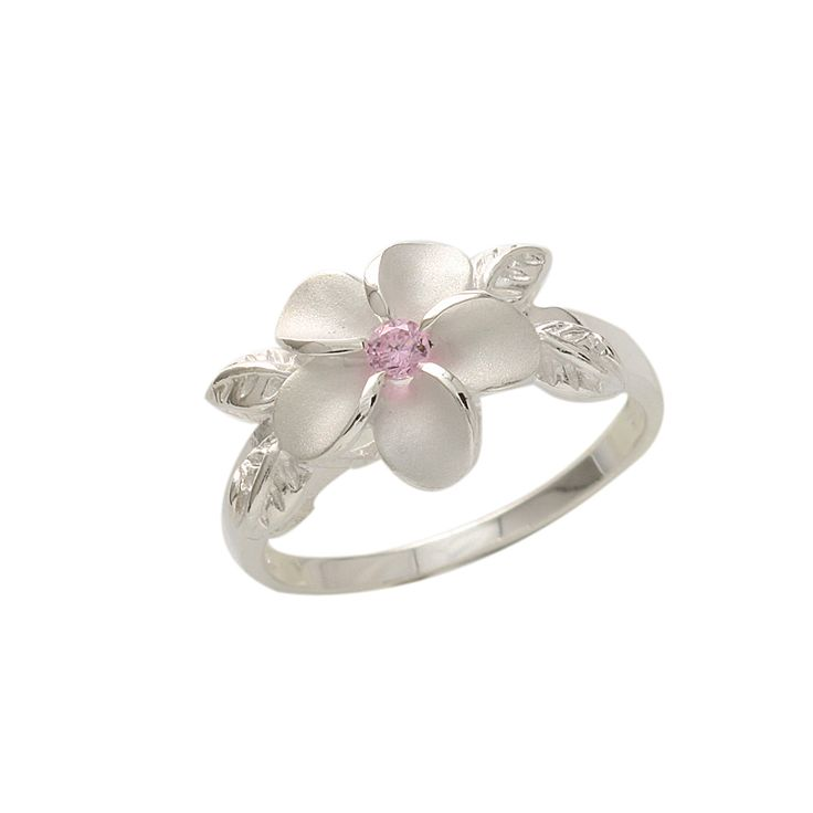 Plumeria Pink CZ Four Leaves Ring 12mm