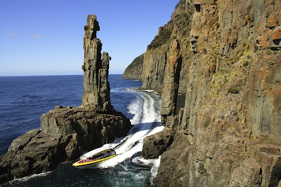 A Bruny Island Wilderness Cruise will take you on this exciting piece of coastline between a rock and a hard place. Lots of Bruny Island info at http://www.huonvalleyescapes.net/bruny-island.html