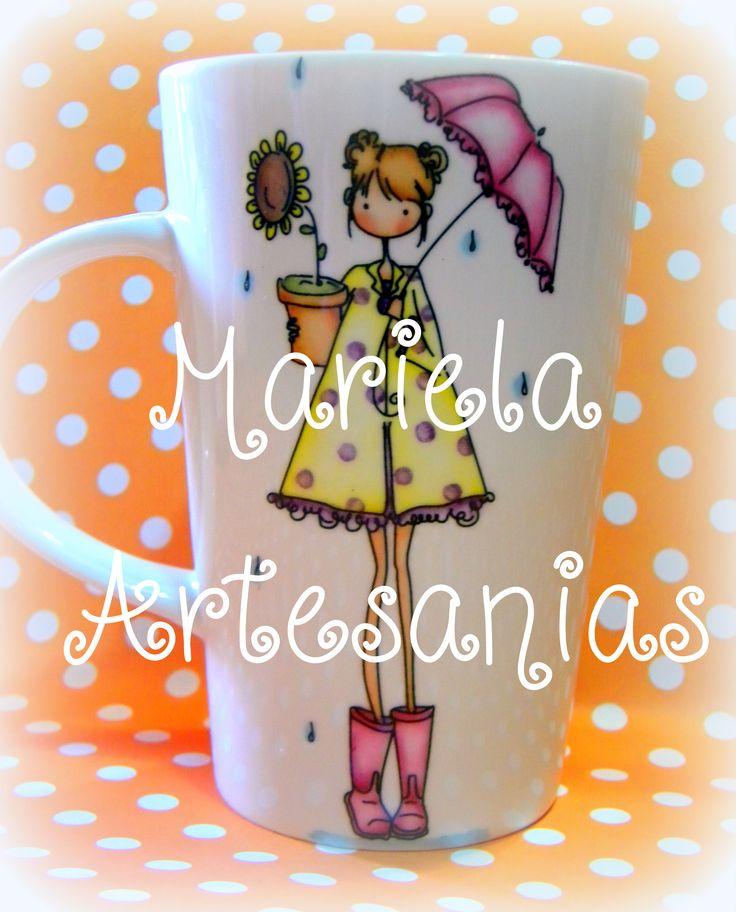 """taza pintada a mano """" nena con paraguas """""""