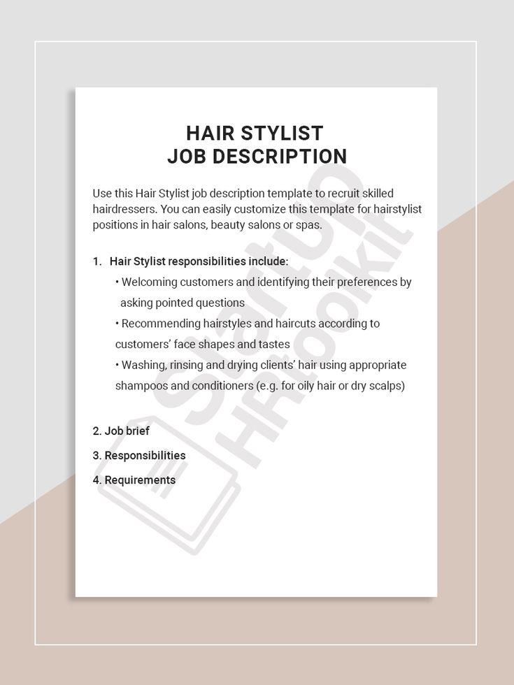 Hair stylist job description job description template