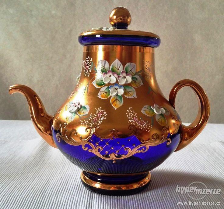 Konvice na kávu * smaltované ručně malované modré sklo * Sklárna Slávia CZ.