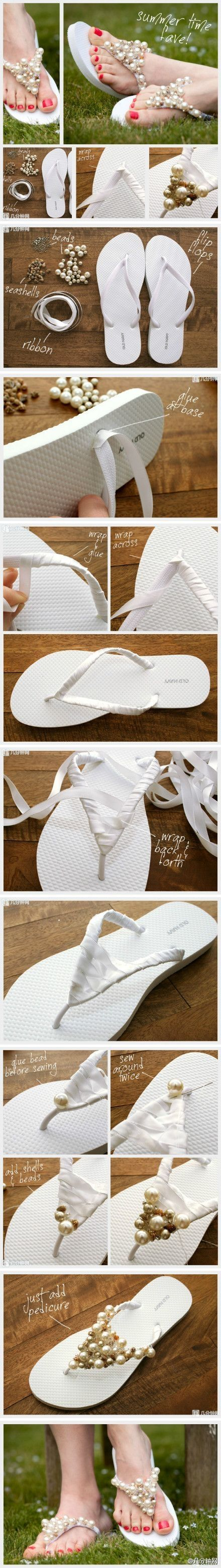 Ribbon beaded flip flops