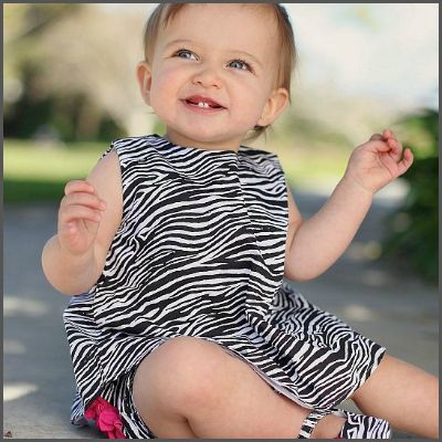 Zebra Print Swing Top. The perfect swing top for your wild one! This open-back top is sweet and simple, yet bold and fun! It's zebra print is covered front to back in a super-fun black and white zebra hide pattern. Fully lined in fresh white cotton and accented with a single black button it is made of 100% cotton and is machine washable.
