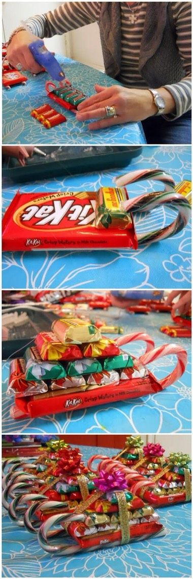 candy sleighs. Use tape instead of glue gun though to prevent melting!