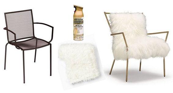 mongolian fur and gold chair diy