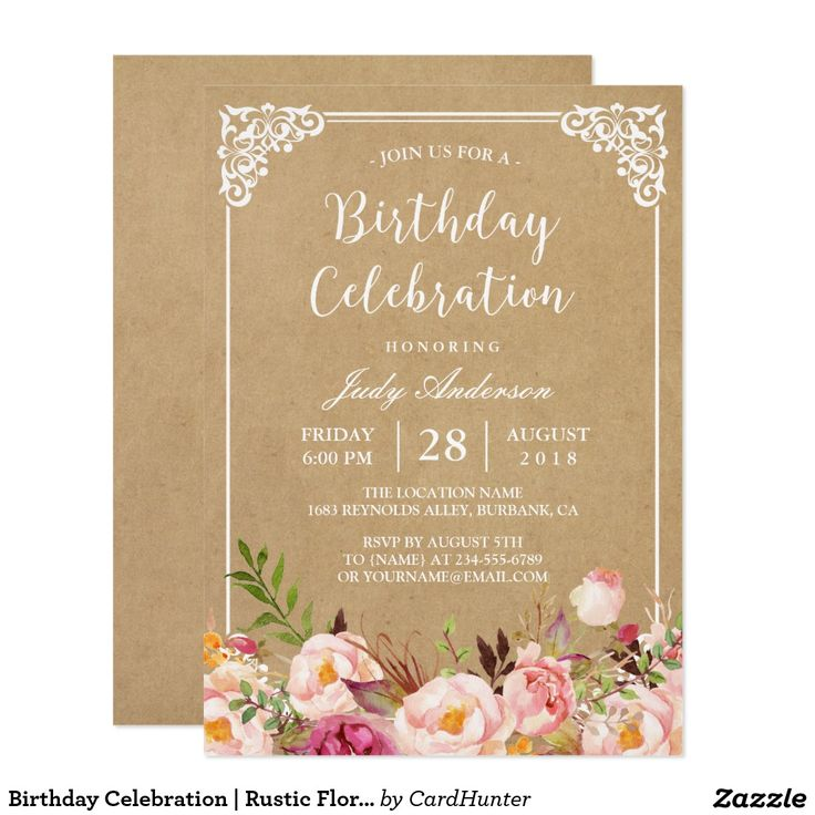 388 best adult birthday invitations images on pinterest birthday celebration rustic floral frame kraft invitation stopboris Images