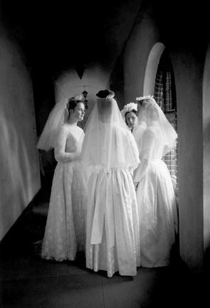 GB. ENGLAND. Surrey. Women Without Men. Brides of Christ - nuns on the day of their wedding to the Lord. 1965.  Eve Arnold