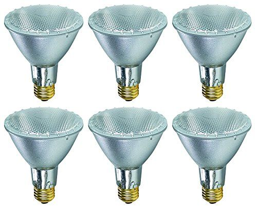 Pack Of 6 38PAR30/FL/LN 120V 39 Watt High Output (50W Replacement) 38W PAR30 Flood 40 Degree Beam Spread 120 Volt Halogen Par 30 Long Neck Light Bulbs  PAR30/LN halogen bulb, 35W, 120V, Flood FL, Base: E26 Medium Screw, 2800K, Rated Life (Hr): 2500, Luminous Flux: 520  Soft white indoor flood light bulbs are the perfect shape for your indoor recessed cans and track light fixtures  Provides a soft, white light to create a relaxing and comfortable environment  Dims just like and incandes...