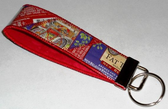 Wristlet keychain recycled fat tire beer