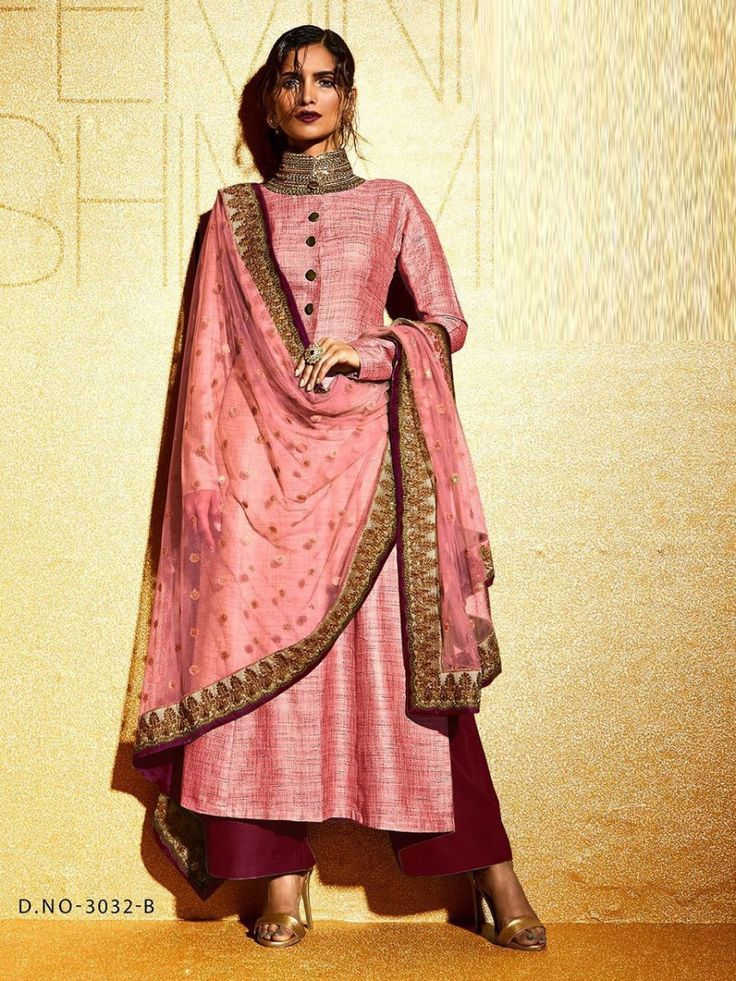Khadi partywear suit with palazzo bottom