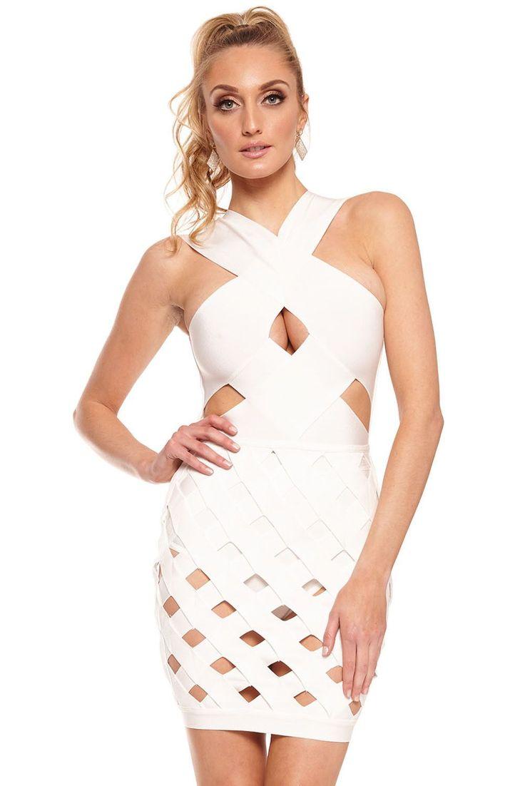 Chicloth White Celeb Style Crisscross Caged Bandage Dress