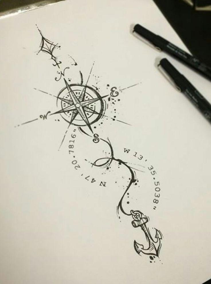 Kompass bleistiftzeichnung  Die besten 25+ Anker Kompass Tattoo Ideen auf Pinterest | Kompass ...
