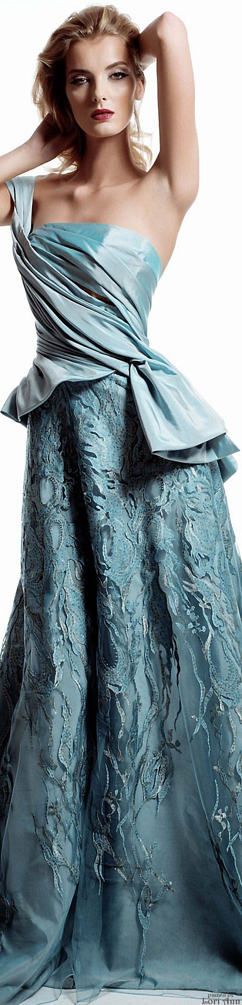 Blanka Matragi Couture Fall 2015 blue maxi dress women fashion outfit clothing style apparel @roressclothes closet ideas
