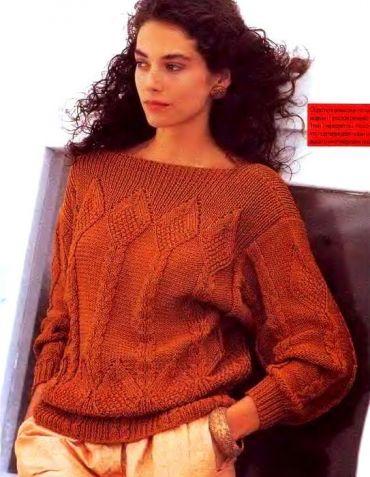 Джемпер с ромбами и косами / Вязание спицами / Вязание для женщин спицами. Схемы