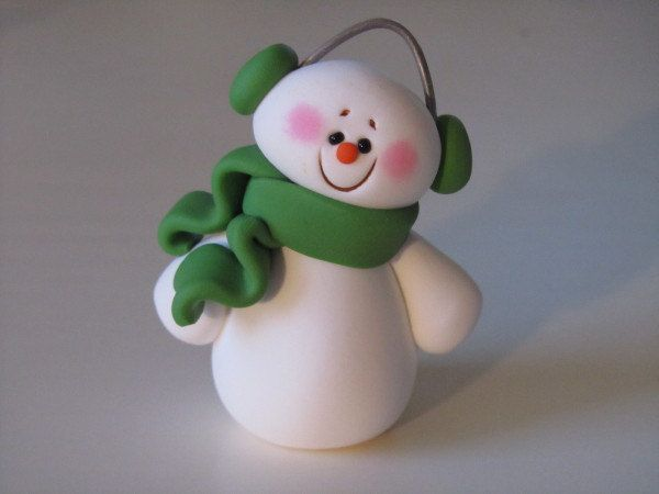 Polymer Clay Snowman by ClayPeeps on Etsy