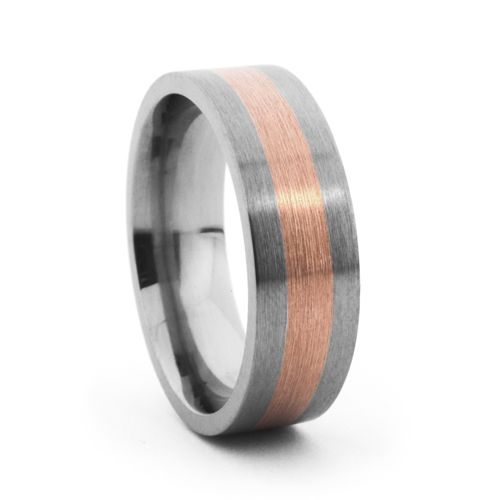 Modern and unique, this 7mm wide Titanium Band by Lashbrook features a 3.5mm wide 14K Rose Gold Inlay. #rosegold #mensweddingbands #mensrings mensaccessories