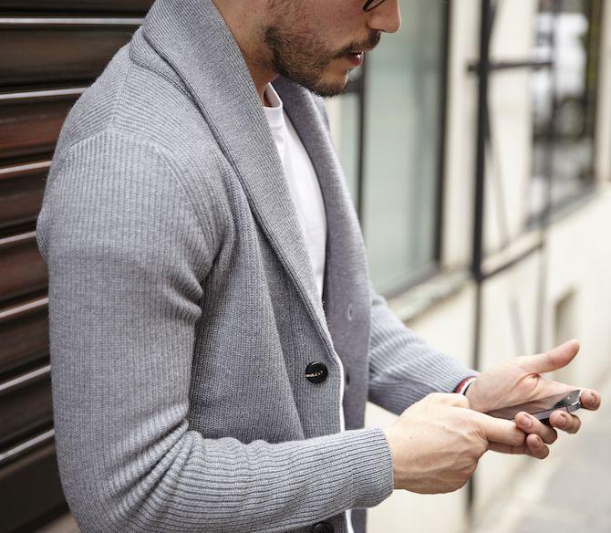 Cardigan pour homme gris en grosse maille