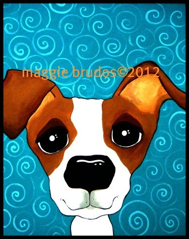 8x10 Jack russell terrier dog  Original Maggie Brudos Wright whimsical art Tangerine Studio. $45.00, via Etsy.