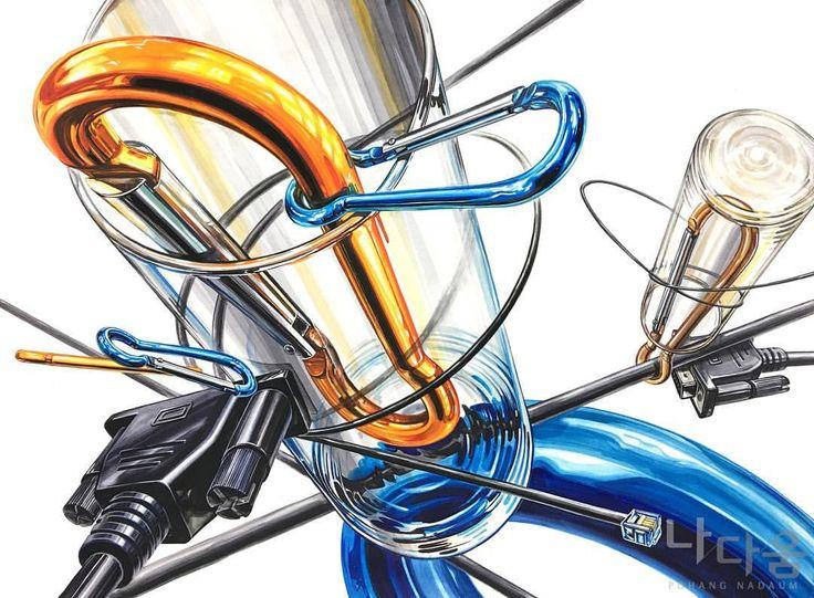 비너(스틸) & 유리컵(투명체) & 케이블