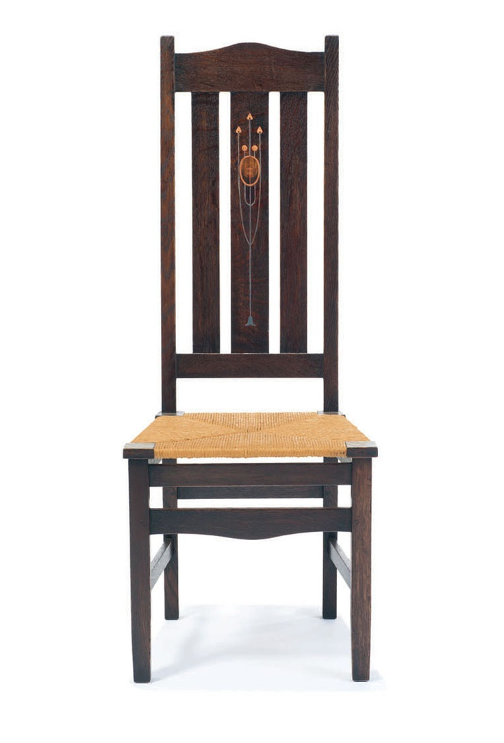 Harvey Ellis Rare Inlaid Side Chair, Gustav Stickleyu0027s Craftsman Workshop,  Eastwood, NY, Designed C.