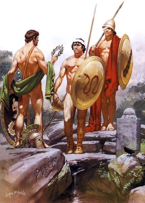 An excellent illustration by Angus McBride of warriors from the area of Boeotia, which was a region of central Greece, north of Athens.  Two of the city-states which were prominent in the defense of Thermopylae (480 BC) were from the Boeotian city-states of Thebes and Thespiae.  The Theban warrior to the far right has the club of Heracles (Herakles) shield device, while the serpent emblem signified warriors was from the clan of Theban Spartioi (Spartoi). It should be noted that there despite…