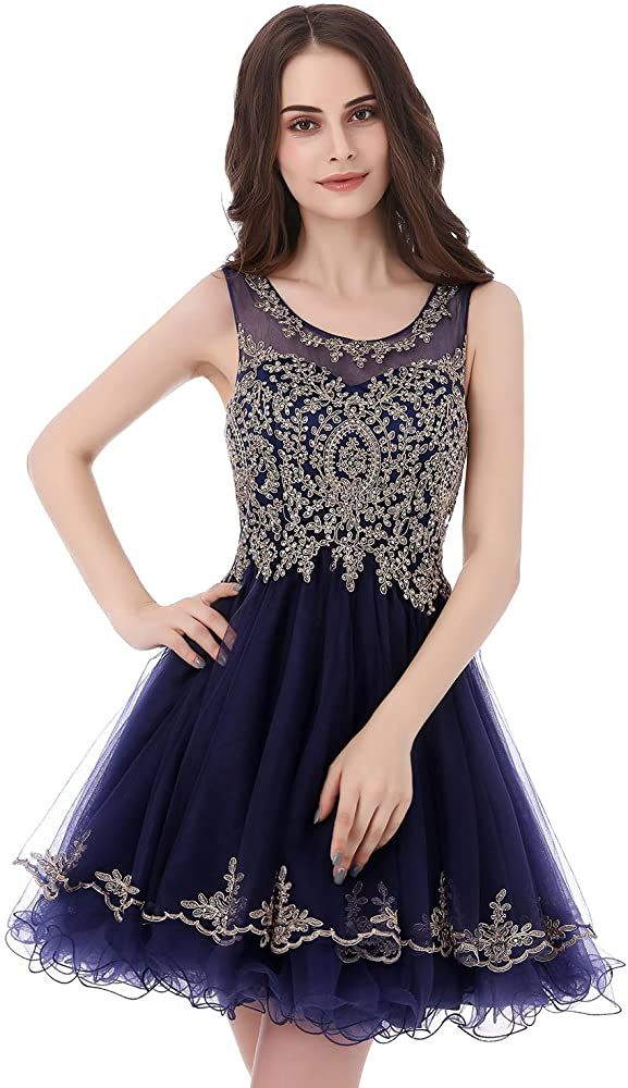 New Style A-line Prom Dress, High Neck Tulle Prom Dresses