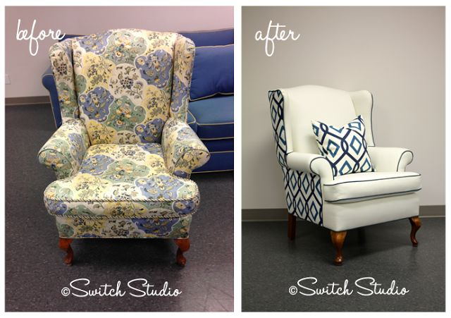 http://www.switchstudio.ca - Switch Studio Switch Studio Reupholster, Before & After, Wingback chair makeover, contrast piping, graphic print, linen