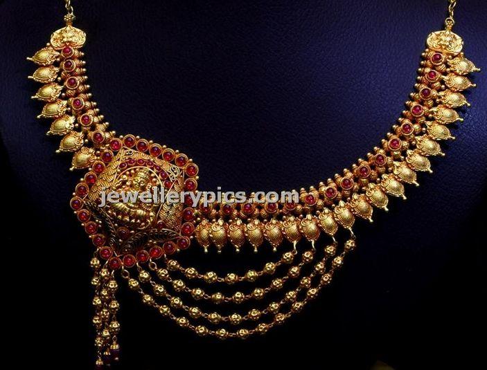 Gundla Antique Necklace By Bhima Beautiful Design Gold Jewellery