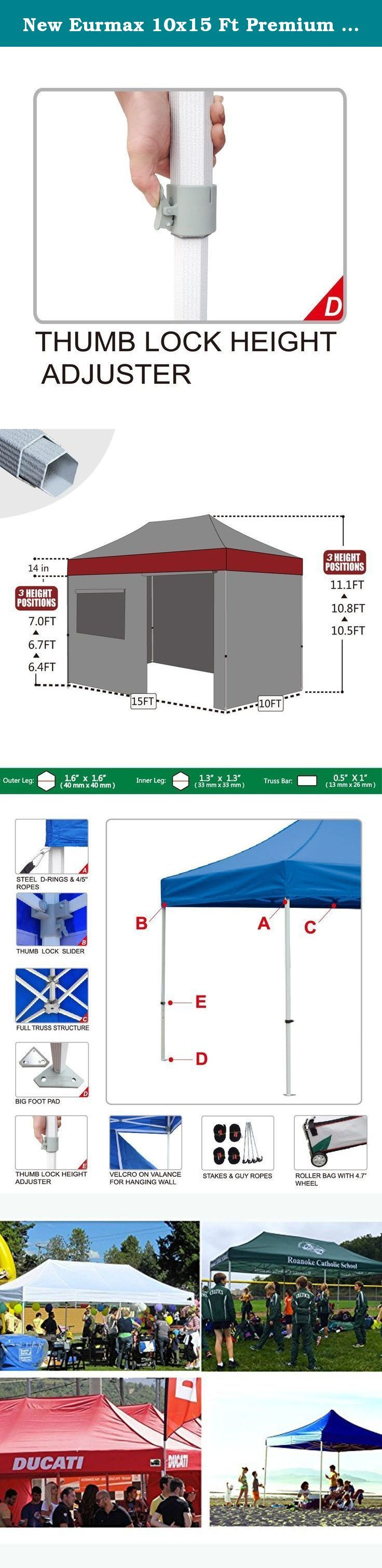 """New Eurmax 10x15 Ft Premium Ez Pop up Instant Canopy Outdoor Canopy Party Tent Gazebo Commercial Grade +4 Removable Zipper End Sidewalls Bonus Roller Bag (White). Eurmax Premium easy pop-up canopy is our mid commercial level canopy with 1.77"""" hexagonal aluminum leg. 3 YEAR WARRANTY! It can be quickly erected by two people without any tools. The canopy is light in weight and high in quality. This portable canopy comes with a super wheeled bag with two 4.7"""" wheels which can handle well even…"""