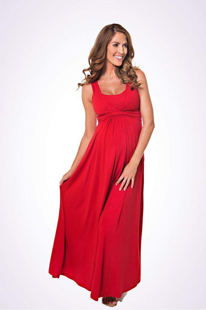 The Lonzi&Bean MaxiMum 2-in-1 maternity & nursing maxidress in Cherry Red