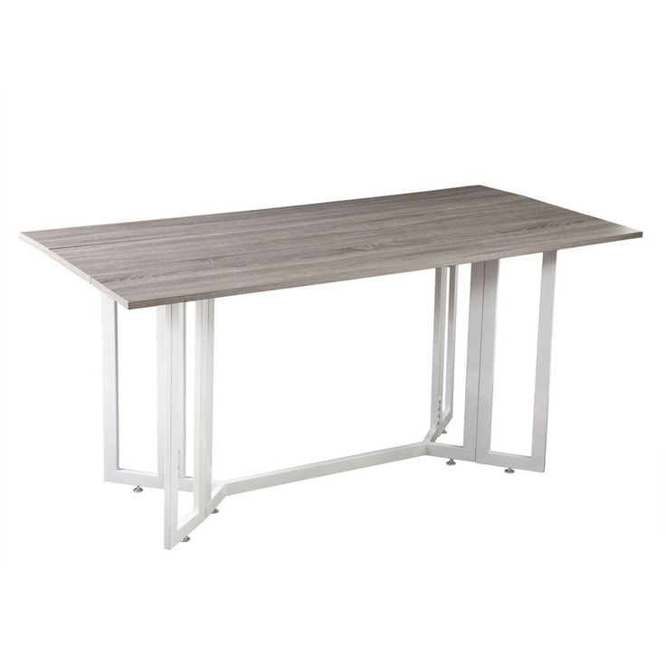 Take a second look at this twofer. Our Drop Leaf Table opens up as a dining table or converts to a console table with the leaves lowered. A multifunctional dream come true for small spaces. - Weathered gray finish w/ white metal base. | eBay!