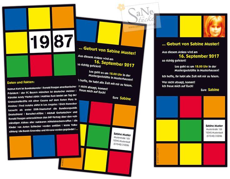 Einladungskarte zum Geburtstag im Retro-Stil der 80er Jahre für alle, die 1987 geboren wurden