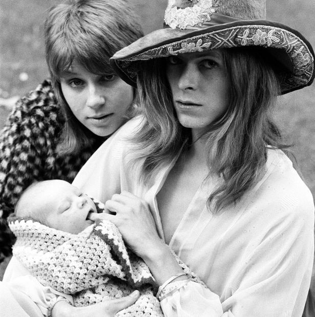 David Bowie with wife Angie and three week old son Zowie