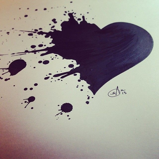 Finished a quick tattoo commission today. Looking forward to seeing it inked! - tattoo art, broken heart, splatter, ink
